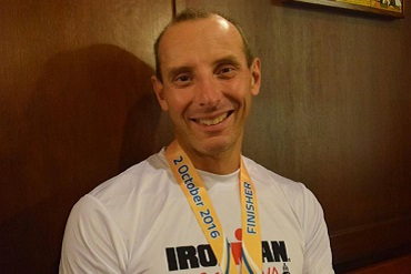 Cheshire CAT member Paul Sellars after Barcelona Ironman in 2016