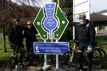 Cheshire CAT cyclists finishing the West Highland Way