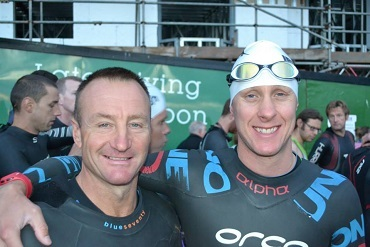 Carl Bibby and Daniel Chesters of the Cheshire CAT at Ironman Wales 2014